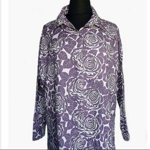 Flax Floral Button Up Linen  Shirt
